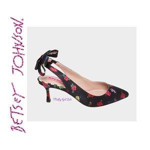 Betsy Johnson CADEE Black/Floral Sling Back Heels